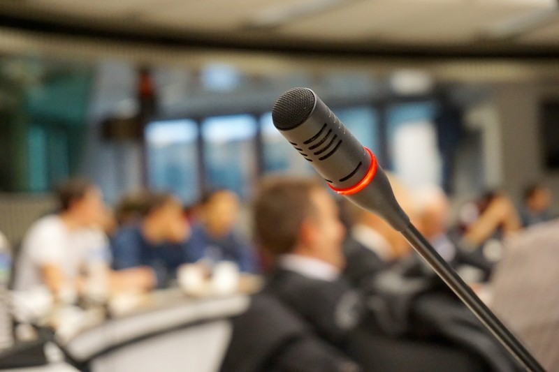 Microphone in conference room. The Top Learning, HR and Talent Development Conferences to attend in 2018